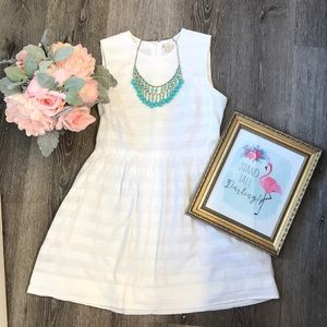 Gap White Dress and Teal Necklace